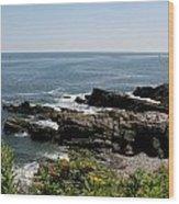 Rocks Below Portland Headlight Lighthouse 4 Wood Print