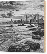 Rocks By The Sea Wood Print
