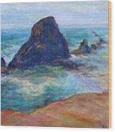 Rocks Heading North - Scenic Landscape Seascape Painting Wood Print