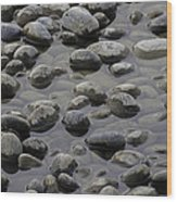 Rocks In Shallow Water Wood Print