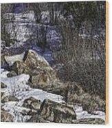 Rocks In Snow Wood Print