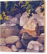 Rocks In Stream Wood Print