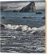 Rocks In The Surf Wood Print