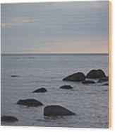 Rocks In Water Wood Print