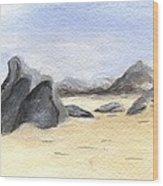 Rocks On Beach Wood Print