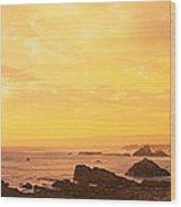 Rocks On The Coast, Mendocino Wood Print