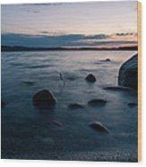 Rocks At A Shore Wood Print