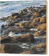 Rocky Beach At Sunrise Wood Print