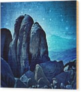 Rocky Cliff In Starlight Wood Print