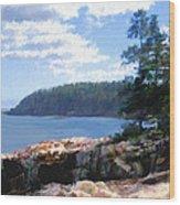 Rocky Coast .  Impressionistic  Wood Print by Ann Powell
