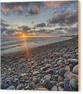 Rocky Coast Sunset Wood Print