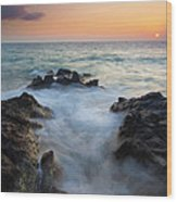 Rocky Inlet Sunset Wood Print by Mike  Dawson