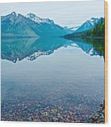 Rocky Mountain And Rocky Bottom Reflection In Lake Mcdonald In Glacier National Park-montana Wood Print