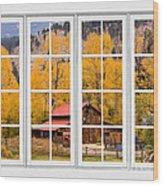 Rocky Mountain Autumn Ranch White Window View Wood Print