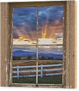 Rocky Mountain Country Beams Of Sunlight Rustic Window Frame Wood Print