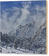 Rocky Mountain Dusting Of Snow Boulder Colorado Wood Print