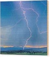 Rocky Mountain Foothills Lightning Strikes 2 Hdr Wood Print