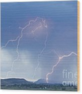 Rocky Mountain Front Range Foothills Lightning Strikes Wood Print