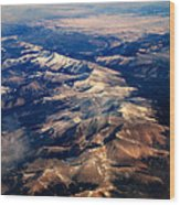 Rocky Mountain Peaks From Above Wood Print