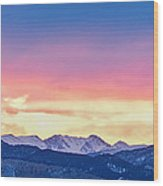 Rocky Mountain Sunset Clouds Burning Layers  Panorama Wood Print