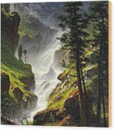 Rocky Mountain Waterfall Wood Print