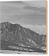 Rocky Mountains Flatirons And Longs Peak Panorama  2 Wood Print
