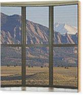Rocky Mountains Flatirons With Snow Longs Peak Bay Window View Wood Print