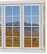 Rocky Mountains Horses White Window Frame View Wood Print