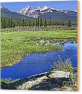 Rocky Mountains River Wood Print by Olivier Le Queinec