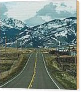 Rocky Mountains Road Wood Print