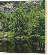 Rocky River Reflection Wood Print