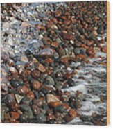 Rocky Shoreline Abstract Wood Print