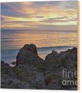Rocky Shoreline At Sunset Wood Print