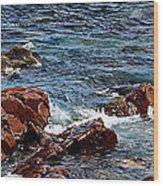 Rocky Shoreline - Coast -  Painterly Effects -  Panorama Wood Print