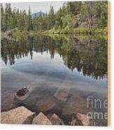 Rocky Shores At Swim Lake Wood Print