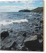 Rocky Shores Of Superior Wood Print