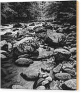 Rocky Smoky Mountain River Wood Print