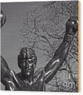 Rocky Statue Wood Print