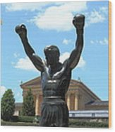 Rocky Statue Wood Print by Lou Ford