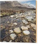 Rocky Stream From Beinn Eighe Wood Print