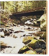 Rocky Stream With Bridge Wood Print