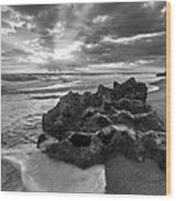 Rocky Surf In Black And White Wood Print