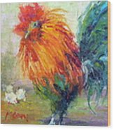 Rocky The Rooster Wood Print