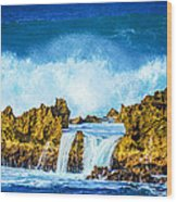 Rocky Waves North Shore Wood Print