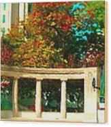 Roddick Gates Mcgill Campus Sherbrook Street Bus Autumn Downtown Montreal City Scenes Carole Spandau Wood Print
