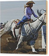 Rodeo Barrel Racer Wood Print
