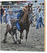 Rodeo Bulldog Wood Print