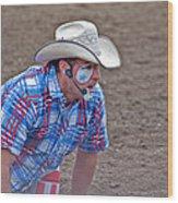 Rodeo Clown Cowboy In Dust Wood Print by Valerie Garner