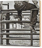 Rodeo Fence Sitters- Sepia Wood Print