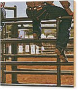 Rodeo Fence Sitters- Warm Toned Wood Print